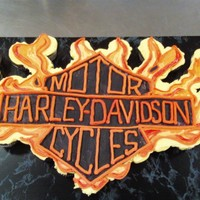 Large Harley Cupcake Cake freehand with buttercream I t was hard I wish it coulda been cleaner
