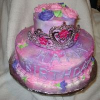 Princess Cake My first sold cake! 6 & 10, covered in BC, airbrushed with pink and purple, BC flowers. Next time I hope to make my own crown.