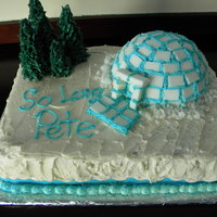 Igloo Cake This is an 11x15 Scratch WASC covered in 50/50 Wilton BC. The igloo is a sports ball pan, iced in blue, and tiled with Domino sugar tiles....