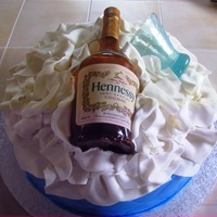 Hennessy Cake vanilla cake with almond filling, covered with fondant, isomalt hennessy bottle and glass