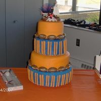 Denver Broncos Wedding Cake 8, 10,12, &14 in rounds covered in fondant. Footballs are from a chocolate sucker mold, made with peanut butter chocolate. This was my...