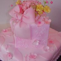 T's Pink Flower Cake For my future DIL, who I realized loves pink not blue, bridal shower celebration... Gumpaste flowers,fondant covered cake