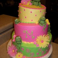 Topsy Turvy Frog Cake   This was a 3 tier topsy turvy cake for a first birthday. The frogs and flowers are made out of fondant.