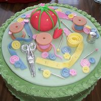 Sewing Cake This was a retirement cake for someone who had sewn for the last 40 years. Everything is made out of fondant.