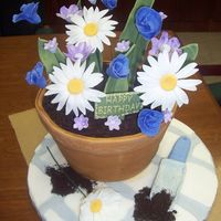 Flower Pot The flower pot is the cake (4 layers, stacked, carved and covered in fondant). The flowers, shovel, and base are made out of fondant. The...
