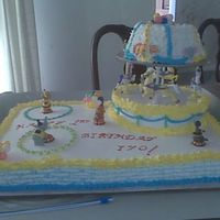 Carousel Cake  This cake was for a friend's grandson's 1st birthday party. The top layerwas formed from the Wilton's Ultimate Belle Pan....