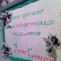 Biggest Christmas Cake Ever   I was visiting my cousin in Louisana and she planned a party for 300. This was one of the biggest cake we ever made. Love my cousin Cat.
