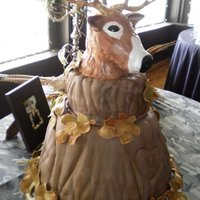 Deer Head Grooms cake I did 2 weeks ago first one that I carved out of RKT Tree trunk cakes with fondant leaves