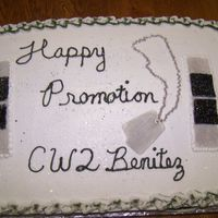 Army Promotion Cake Cake flavour:French Vanilla. Frosting: Buttercream. Tips used: 18 and 88. Rank and dog tags are fondant w/ edible glitter/pearl dust. The...