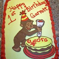 Curious George Cake I made this cake for my nephews 1st birthday. Buttercake w/ crusting BC and an FBCT, has a shell border and then a star border.