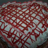 Red & White Heart (Pic 1) Made a cake b/c I was bored, gave the cake away. The red drizzles are wilton candy melts, and it actually has a raised heart in the middle...