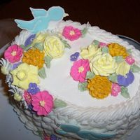 Course Ii   A little closer shot of the flowers on top. I see where I could have added more leaves..but, I am a work in progress....