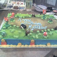 Super Mario Bros. Cake This is my latest creation. My nephew is obsessed with the Mario Bros. It's a marble cake with buttercream icing. I did the...