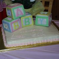 Baby Shower Cake Blocks of Chocolate cake covered in Fondant with fondant borders and freehand RI designs. Base cake is an excellent yellow cake recipe I...