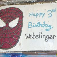 Webslinger Cake Here's a pic of my son's 3rd Birthday cake. Hopefully you can tell it's Spiderman. Chocolate 9x13 glued to a Yellow 9x13 (...