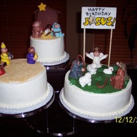 Happy Birthday Jesus Nativity Cake Thanks so much to CC users for all the inspiration for this cake. Cakes are iced in buttercream and all the figures are fondant.