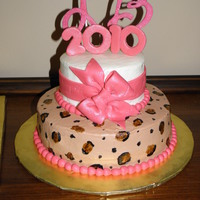 Hot Pink Cheetah Graduation Cake One of three graduation cakes for a sweet 2010 graduate. Round cakes were 10 in and 6 inch, and the sheet cakes were 11X15. The cheetah...
