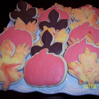Fall Themed Cookies Sugar cookies with fondant decoration.