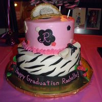 Hot Pink Zebra Graduation Cake 8 inch and 6 inch round cakes. Buttercream with fondant accents.