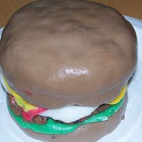 Hamburger Cake Practice cake modeled after several here -- using chocolate MMF.
