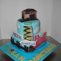 San Francisco Good-bye party cake for couple moving across the country to San Francisco. All detailing in fondant, highlighting main attractions in San...