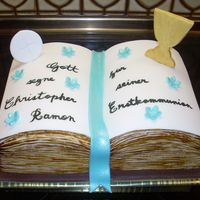 Bible for a boy's first holy communion. he saw a photo of a bible cake from here on cc with a chalice on top -- really lovely, which i of...