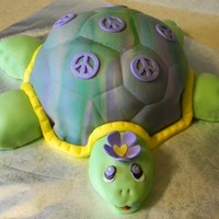 Tie Die Turtle I used the half soccer ball pan for the shell and the head and legs was egg shaped cupcakes. Covered in fondant. Tie Die for a teenager who...