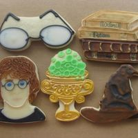 Harry Potter Assortment   Harry Potter cookies for my son's girlfriend who is attending school at Oxford University. glace over butter cookies. Hand painted