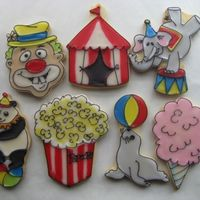 Circus Assortment Sampling for a circus themed auction. tobas glace over butter cookies