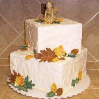 "Square Fall Wedding Cake Dummy Just messing around with cake dummies and trying the BC ""stucco"" technique. Turned out okay - not super thrilled with it. Fairy..."
