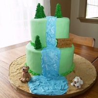 Waterfall Baby Shower Cake Made for a girl who didn't want a baby-ish baby shower cake (??) and wanted it to have something to do with a forest, a river, and...