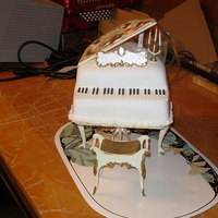 Piano Cake This was a cake covered in fondant and using the Wilton piano accessories. Only the cake and fondant are edible, the rest are plastic from...