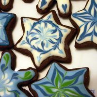 Painted Star Cookie These cookies were made for Hanukkah and Christmas parties. They are Rolled Chocolate Sugar Cookies. (I made NFSC, too.) Icing is royal,...