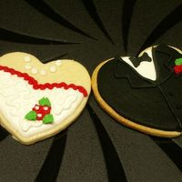 Wedding Reception Cookies NFSC decorated to look like the bride's gown.