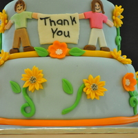 Thank You Thank You cake for teacher apprieciation day. Chocolate cake, vanilla buttercream, marshmallow fondant.