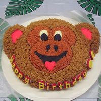 Monkey Around My son's 5th birthday cake. Animal Cracker pan, yellow cake w/ BC icing. Pre-Cake Central! hee hee