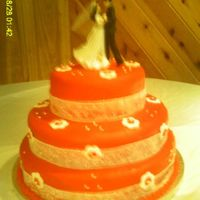 Red Wedding Cake 8,12, 14 round cakes. Vanilla Red Satin fondant and flowers, Vanilla Cake