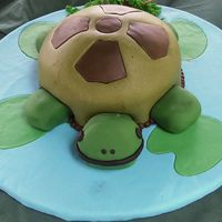 Turtle Birthday Cake Chocolate cake covered in fondant. cupcake feet.
