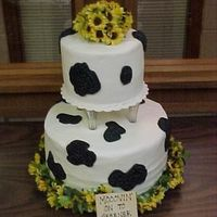 "Holstein Cake Holstein cake for girl at workin leaving---""moovin' on to greener pasture"""