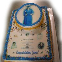 "Graduation Cake   1/2 sheet with angled 8""round on top - buttercream icing and edible images."