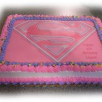 Super Girl Quarter Sheet Cake with Buttercream icing and edible image.