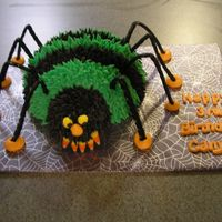 First Paid Cake (Spider)   Chocolate cake with chocolate and regular buttercream. Licorice legs and candy corn teeth.