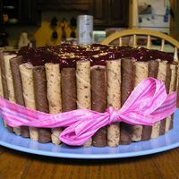 Pirouette Cake Chocolate cake with chocolate hazelnut bc, topped with cherry filling. Hazelnut and Chocolate Pirouttes surrounding cake. Thanks for the...
