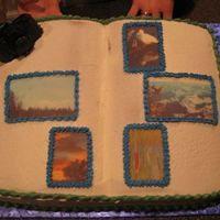 Husband's Birthday Cake  The cake itself is vanilla with lemon filling and cream cheese icing. My husband gets to choose his flavor every year, I choose the design...