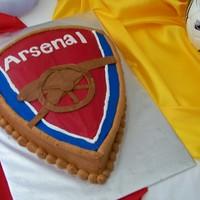 Arsenal Soccer fan's Groom's cake. Chocolate sheet cake carved, buttercream frosting and fondant cannon and letters.