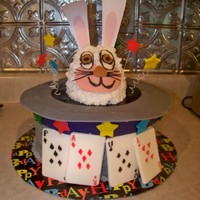 "It's Magic! 10"" 3-layer chocolate cake with buttercream frosting and MMF accents. The bunny is cereal treat and buttercream frosting. The ears are..."