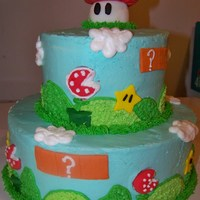 "Super Mario Bros 10"" and 6"" rainbow cake (wish I had a pic of the inside after it was cut!) with buttercream frosting and MMF decor."