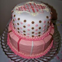 "Baby Girl 8"" and 6"" white cake with buttercream frosting and MMF stripes and dots."