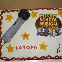 High School Musical High School Musical Edible Image on BC. Microphone made out of rice krispies covered in Fondant w/ fondant accents.God Bless & TFL!