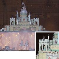 Giant Castle Cake This was a wedding cake for 900 guests. 4' wide x 3' deep x 4' tall. The turrets on the corners are cut from plywood and...